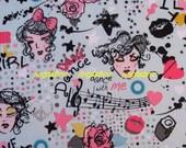 """W146D  - Vinyl Waterproof Fabric - Rose heart dot and girl face - Light blue  - 27""""x19""""(70cmX50cm)"""