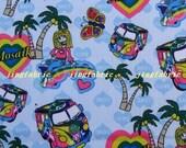 "W138C  - Vinyl Waterproof Fabric - Cartoon - girl tree car heart - blue -  27""x19""(70cmX50cm)"