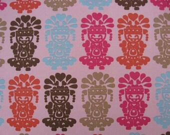 "W033C - Vinyl Waterproof Fabric - Indian doll - Pink  - 27"" x 19"" (70cm x 50cm)"