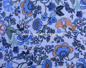 "W073D - Vinyl Waterproof Fabric - Beautiful flower on light blue - 27"" x 19"" (70cm x 50cm)"