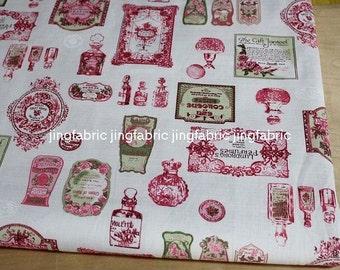 """L329A -  Cotton Linen Fabric - Perfume bottle - pink  - 27"""" x 19""""(70 x 50cm)"""