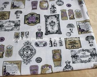 """L329C -  Cotton Linen Fabric - Perfume bottle - grey  - 27"""" x 19""""(70 x 50cm)"""