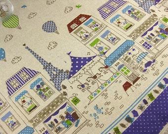 L001C - Japanese Cotton Linen Fabric - Happy Paris - Purple  -  Half meter  (110cmX50cm)