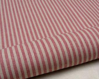 "L313B - Cotton Linen Fabric - Stripe - Pink - 27"" x 19""(70 x 50cm)"