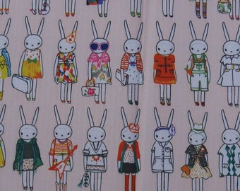 "W003A - Vinyl Waterproof Fabric - Bunny Rabbit (A) - Salmon Pink - 27""x19""(70cmX50cm)"