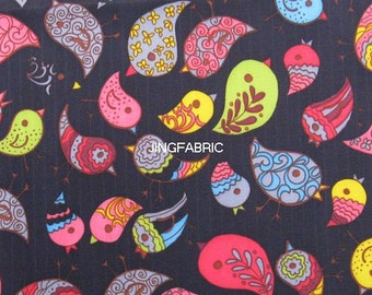 "W011A - Vinyl Waterproof Fabric - Lovely Birds - Black  - 27""x19""(70cmX50cm)"
