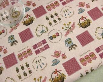 "L319A - Cotton Linen Fabric - Zakka In The Courtyard - pink - Fat Quarter  - 27"" x 19""(70 x 50cm)"