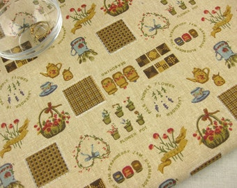 """L319B - Cotton Linen Fabric - Zakka In The Courtyard - yellow - Fat Quarter  - 27"""" x 19""""(70 x 50cm)"""