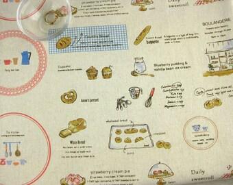"L305C - Cotton linen blend fabric - Breakfast time - Red  - Fat Quarter 27""x19"""