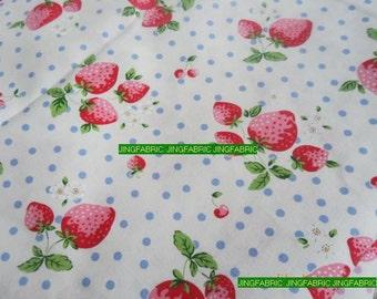 "L037B -  Cotton Linen Fabric - Strawberry and Dot  - Blue  dot -21"" x 19"" (55x50cm)"