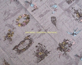 "L335B -  Cotton Linen Fabric - Swallow and garland on purple - 27"" x 19""(70 x 50cm)"