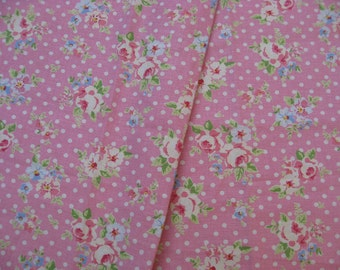 "L339B -  Cotton Linen Fabric - Rose and dot on pink  - 27"" x 19""(70 x 50cm)"