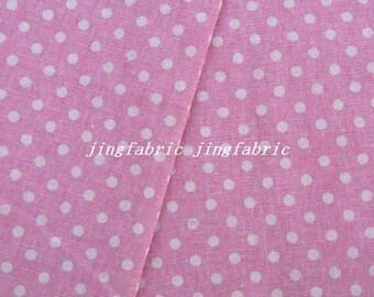 """L343C  -  Cotton Linen Fabric - Stripe - Dots on pink  -  27"""" x 19""""(70 x 50cm)"""