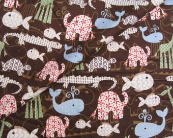 C906  -  1 yard  Cotton flannel fabric- Animals/Whale/Crocodile/Elephant