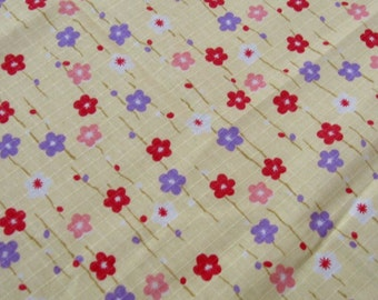 "L349C  - Cotton Linen Fabric -  Sakura - yellow  - Fat Quarter  - 27"" x 19""(70 x 50cm)"