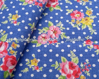 "L339D -  Cotton Linen Fabric - Rose and dot on Blue  - 27"" x 19""(70 x 50cm)"