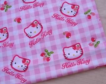 "C105 - Cotton Fabric - Hello Kitty - Pink - 31"" x 19""(80 x 50cm)"