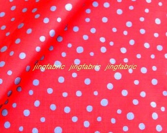 "Vinyl Waterproof Fabric - Dots - Red  - 27"" x 19"" (70cm x 50cm)"