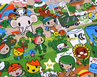 "W136B  - Vinyl Waterproof Fabric - Cartoon - elephant baby  and car - green -  27""x19""(70cmX50cm)"