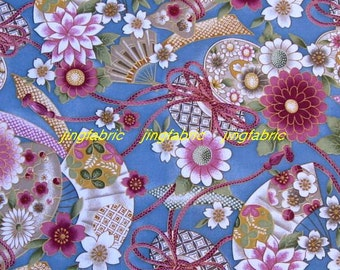 "W153A  - Vinyl Waterproof Fabric - Flower fans and  rope  - grey  - 27""x19""(70cmX50cm)"