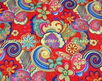 "W176C  - Vinyl Waterproof Fabric - Flower - spindrift - Red  -  27""x19""(70cmX50cm)"