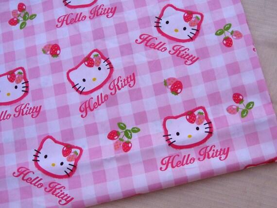 "C105 - Cotton Fabric - Hello Kitty - Pink - 31"" x 19""(80 x 50cm)"