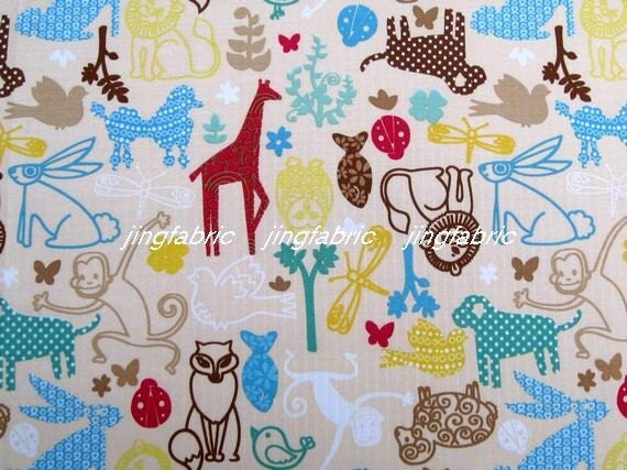 "W077C  - Vinyl Waterproof Fabric - Animals - beige  - 27""x19""(70cmX50cm)"