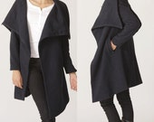 big collar wool coat  BLACK winer warm coat ( FM011)
