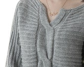 SWEATER gray grey Oversize Knitted Top M139