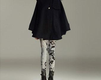 coat/ cape/cashmere coat / black coat/ cape FM075