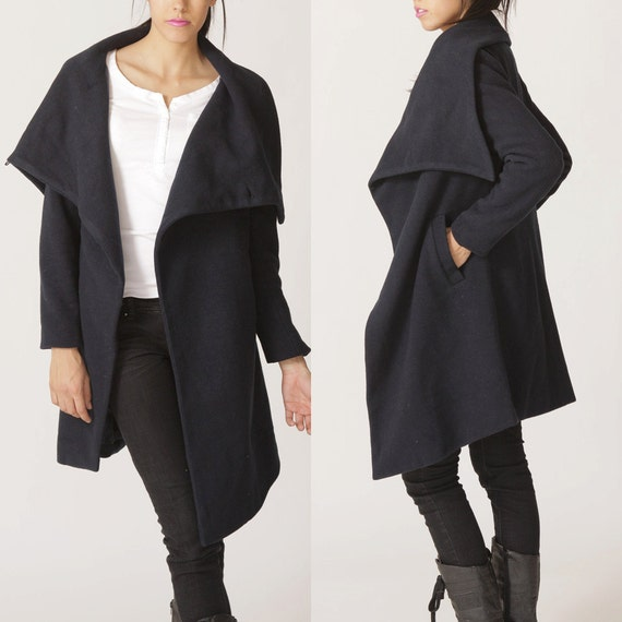 Items similar to big collar wool coat BLACK winer warm coat ...