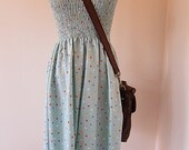 Pretty summer dress with shirred bodice in blue and funky dots SMALL LARGE