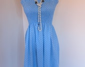 Pretty summer dress with shirred bodice in blue and white hearts LARGE