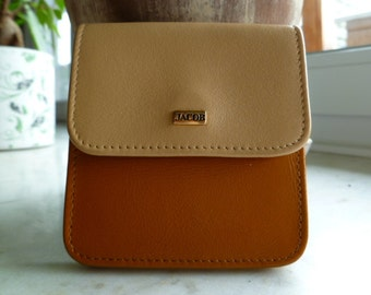 Vintage soft leather coin and bills wallet with three sections