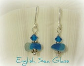 "English Seaglass Jewelry Earrings - Genuine RARE Turquoise ""Multi"" Sea Glass Jewelry"