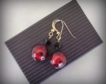 Glass Jewelry Earrings - Red and Black Venetian Glass with Swarovski Crystals - Dangle Earrings - Gold Filled