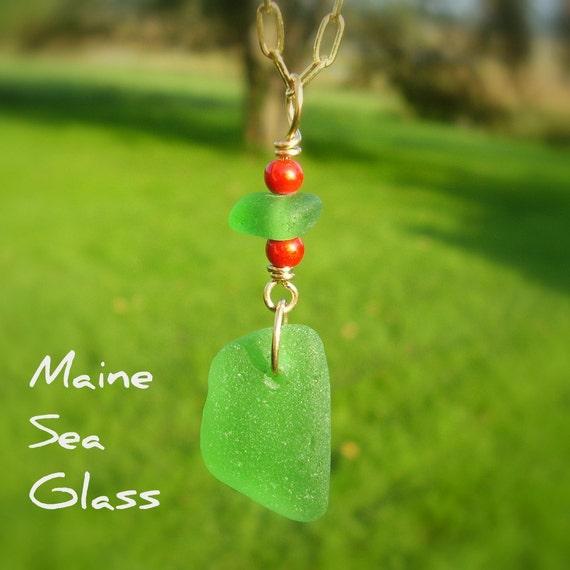 Christmas Seaglass Jewelry Pendant - Genuine Maine Seaglass Jewelry - Green Sea Glass