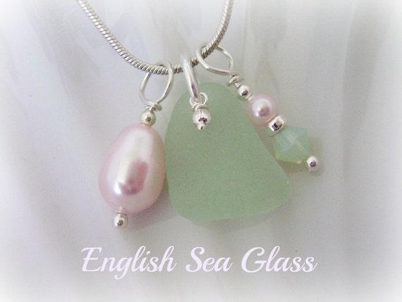 English Seaglass Jewelry Necklace - Seafoam Seaglass and Pink Swarovski