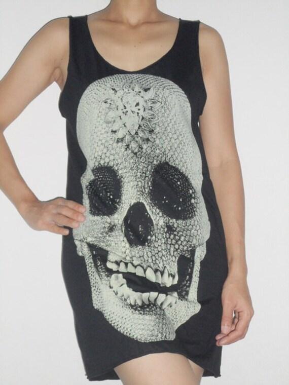 GOTHIC DIAMONDS SKULL Singlet Tank Top T-Shirt Mini Dress