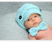 Crochet Baby Bow Tie and Newsboy Hat Set Photo Prop