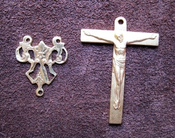 Pair, Vintage 1950s-60s Gold Plated Crucifix, Stylized M Rosary Center