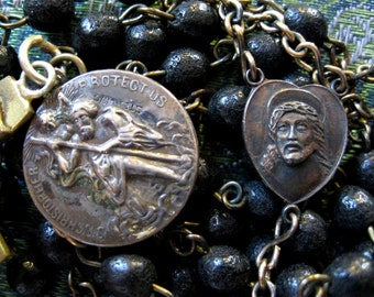 SALE Antique Pressed Rose Petal Rosary with Sorrowful Christ/ Mary Brass Center, Brass Crucifix and Sterling Saint Christopher medal