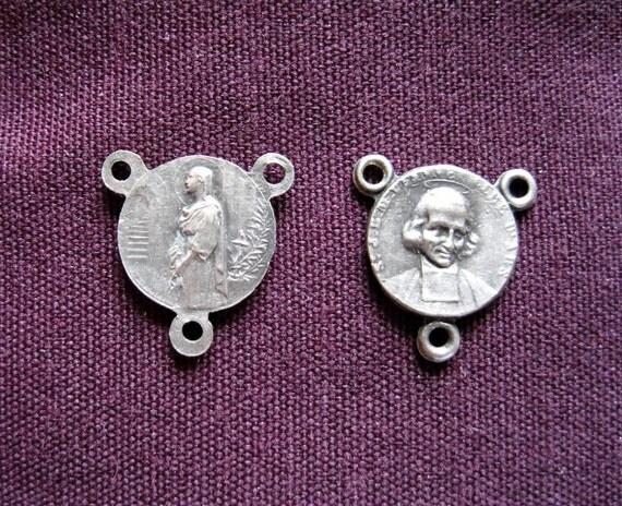 1920s Pair of Small Rosary Centers, Saint John Vianney & Saint Philomena