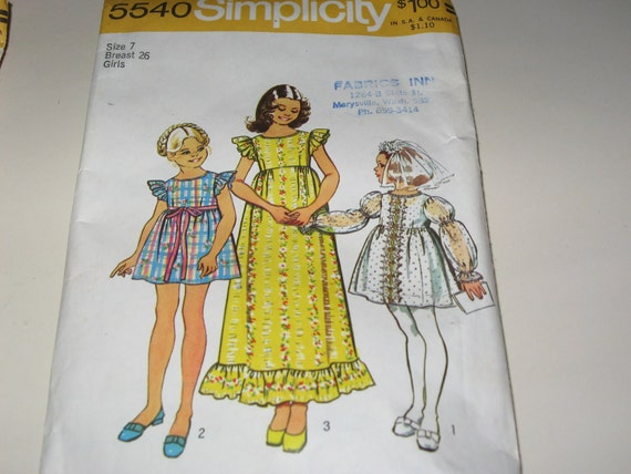 Simplicity 5540 dress size 7 for girls