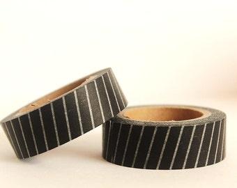 Thick Black Diagonal Stripes Washi Tape
