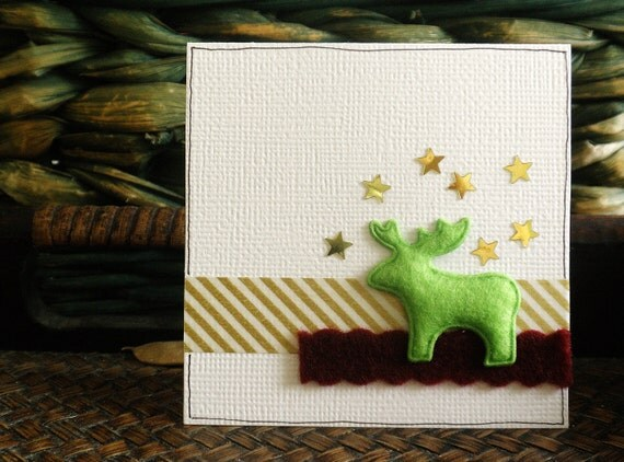Reindeer Christmas Cards, 3x3 Inch Heavy Card Stock - Set of 4 Cards
