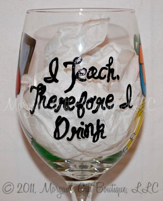 Teacher Hand Painted Wine Glass