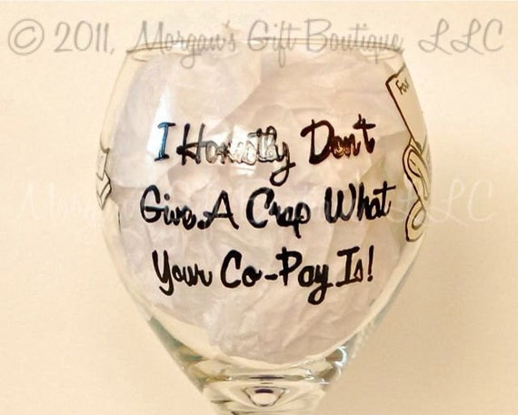 Pharmacist Hand Painted Red Wine Glass