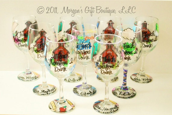 Teacher Custom Hand Painted Wine Glass
