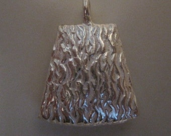 Silver Plated Copper Trapezoid Textured Puffed Drop 2 Sided Focal Pendant Charm